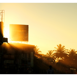 Morning Blish by Naveen Kadam - City,  Street & Park  Skylines ( orange, sky, india, sunrise, morning, sun, rays,  )