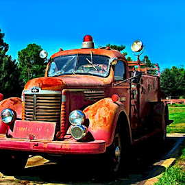 Old Pumper by Julie Dant - Transportation Automobiles ( old fire trucks, antique pumpers, fire trucks, red fire engines, nostalgia, old pumpers, antique fire trucks, antiques )