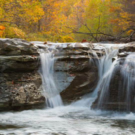 Three Falls by Michael Wolfe - Landscapes Waterscapes ( waterfalls, autumn leaves, fall colors, autumn, falls, rock, autumn colors,  )