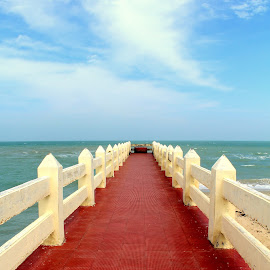 Road to the Wishing Well by Paulami Banerjee - Buildings & Architecture Bridges & Suspended Structures ( rameshwaram, beach, travel, villonditeertham, landscape )