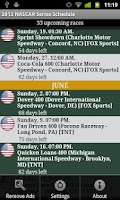 Screenshot of 2014 Nascar Series Schedule