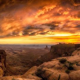 Sacred Sunset by Allen Miller - Landscapes Sunsets & Sunrises ( cloouds, moab, utah, canyonlands, sunset,  )