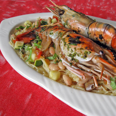 Grilled Prawns with Pasta au Pistou