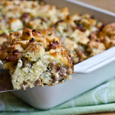 Savory Sausage and Cheddar Bread Pudding