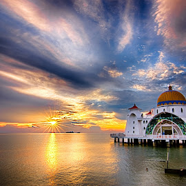 Sunset on floating mosque by BK Ong - Buildings & Architecture Other Exteriors ( selat, mosque, sunset, floating, melaka,  )