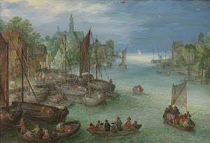 RIJKS: attributed to Jan Brueghel (I): View of a City along a River 1630