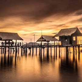 fishing wharf in sablayan by Jerry ME Tanigue - Buildings & Architecture Bridges & Suspended Structures ( water, sky, waterscape, color, sunset, seascape, beach, fishing, wharf, landscape )