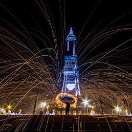 Blackpool Tower Wire wool by Sharon Carse - Abstract Light Painting