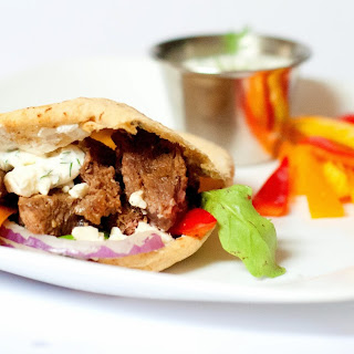 Greek Marinated Steak Gyros with Greek Yogurt Dill Dip