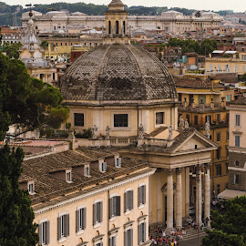 Santa Maria in Montesanto by Pierre Bo - Buildings & Architecture Public & Historical ( europe, exterior, afternoon, architectural element, overcast, religious structure, city, roof, santa maria di montesanto, tree, rome, column, weather, piazza del popolo, pillar, town, italy, travel photography )