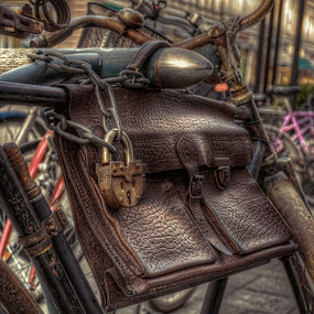 Blast to the past by Bojan Bilas - Artistic Objects Other Objects ( 50's, hdr, chain, bag, street, lock, finland, retro, turku, bicycle,  )