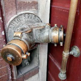 Old School by Jen Rhora - City,  Street & Park  Street Scenes ( hose, building, old, door, antique, Urban, City, Lifestyle )