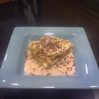 Tiramisu Bread Pudding and Cream Sauce