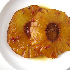 Roasted Pineapple with Pink Peppercorns (another Claudia Fleming wonder)
