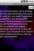 Screenshot of Sternzeichen App