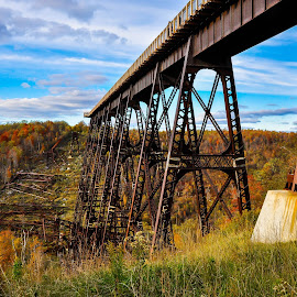 Kinzua bridge Skywalk by Brooks Travis - Transportation Railway Tracks ( clouds, blue sky, fall foliage, trestle, pier, valley, railway bridge, iron,  )