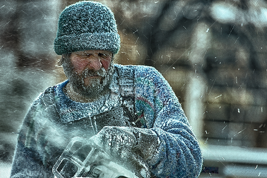 Old Man Winter 6 by Bill Tiepelman - People Street & Candids ( minnesota, winter, cold, sculpting, ice, carving, saint paul winter carnival, chainsaw, man,  )