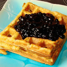 Lemon-Poppy Seed Waffles with Blueberry Sauce
