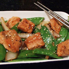 Salmon and Snow Pea Stir Fry