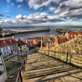 199 Steps by Steve BB - City,  Street & Park  Street Scenes ( north yorkshire, breakwater, pier, whitby, steps, abbey )