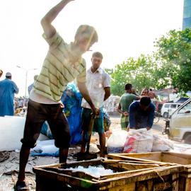 Ice seller working by Arju Rahman - People Portraits of Men ( market, fish, iceseller, street, karwan bazar )