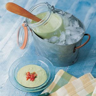 Cucumber-Avocado Soup with Tomato Salsa