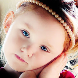 Angelic Looking by Cheryl Korotky - Babies & Children Child Portraits ( child, model, angelic expressions, red hair, sweet poses, a heartbeat in time photography, amazing faces, blue eyes, nevaeh, beautiful children, high contrast )