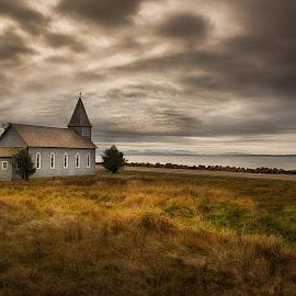 Lone Church by Sheldon Anderson - Landscapes Prairies, Meadows & Fields ( washington, sky, church, sunset, beach, marina )