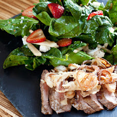 Flank Steak & Frizzled Shallots with Spinach-Strawberry Salad