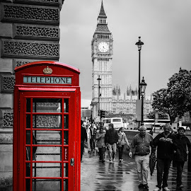 Telephone Box by Joe Adams - City,  Street & Park  Street Scenes ( parliament, selective color, london, phone box, westminster, big ben, pwc )