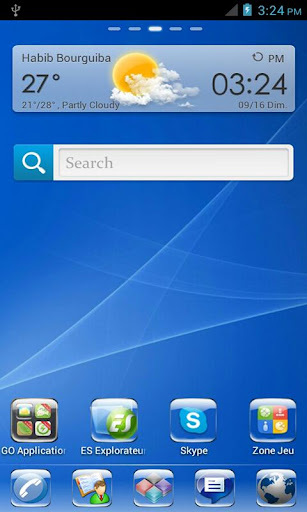 Real Blue Glass Go Launcher HD