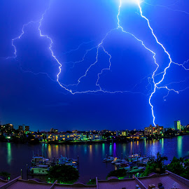 Lightning Strikes Brisbane by Colin Davis - City,  Street & Park  Skylines ( lightning, nightscape )