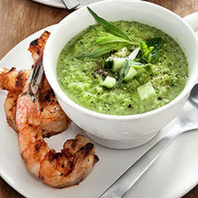 White Gazpacho with Grilled Shrimp