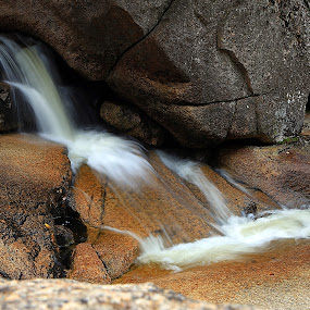 Small Cascade  by Ken Miller - Landscapes Waterscapes ( water, stream, waterscape, cascade, long exposure, white mountains, landscape, water fall, rocks, new hampshire )