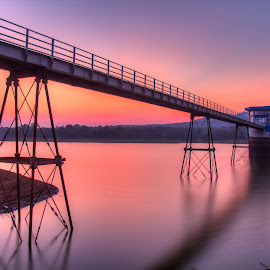 sunset dam by Tito Pradipta - Landscapes Sunsets & Sunrises ( water, sunset, indonesia, dam, bridge, the mood factory, mood, lighting, sassy, pink, colored, colorful, scenic, artificial, lights, scents, senses, hot pink, confident, fun, mood factory ,  )