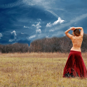 Stormy by Adrienn Liker - Nudes & Boudoir Artistic Nude ( skirt, field, stormy, body, sky, girl, woman, back, beauty )