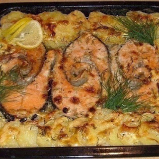 Baked Trout With Potatoes Casserole