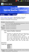Screenshot of NOAA Alerts