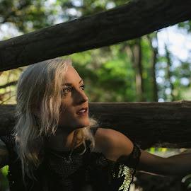 creepin' by Luis Rivera - People Body Art/Tattoos ( white hair, blonde, tattoos, woods, mesh,  )