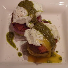 Eggs Benedict on Artichoke Bottoms with Watercress Pesto