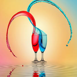 It Takes Two to Tango by Ganjar Rahayu - Digital Art Things ( water, reflection, red, splash, blue, glass )