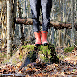 In the forest by Maria Barbara - Novices Only Landscapes ( red wellies, forest )