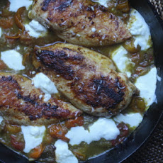 Seared Chicken Breasts with Cherry Tomato Pan Sauce and Fresh Mozzarella