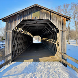 coverd bridge by Jay Anderson - Buildings & Architecture Bridges & Suspended Structures ( old, park, snow, brigde, covered )