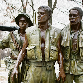 Viet Nam Memorial Statue - Digital Oil by Steven Aicinena - Digital Art Things (  )