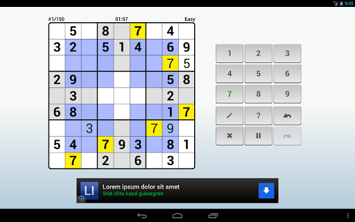 andoku-sudoku-2-free for android screenshot
