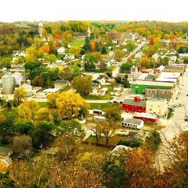 Overlooking Lanesboro, MN by Dan Dusek - Landscapes Travel ( autumn leaves, autumn, autumn colors, town, landscape )