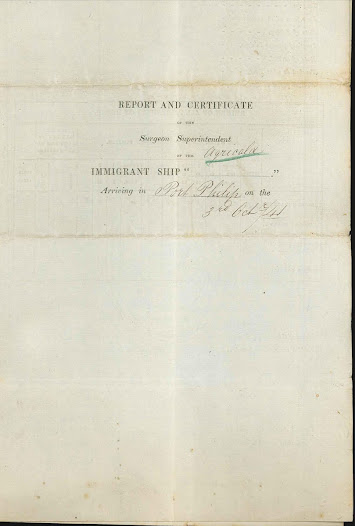 Report and certificate of the Surgeon Superintendent of the immigrant ship Agricola, regarding typhus sufferers, dated 3 October 1841