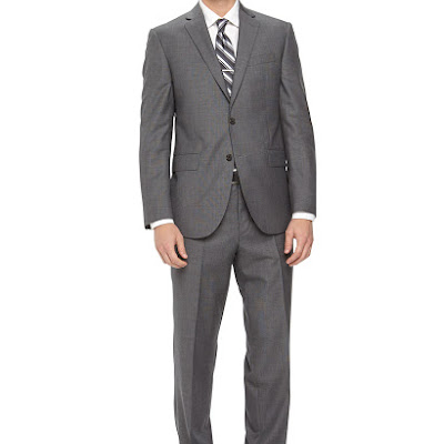 Neiman Marcus Two-Piece Neat Wool Suit, Light Gray - (40S)