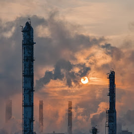Steel City by Jiri Komurka - Buildings & Architecture Other Exteriors ( fog, emotive, factory, sunrise, industry )